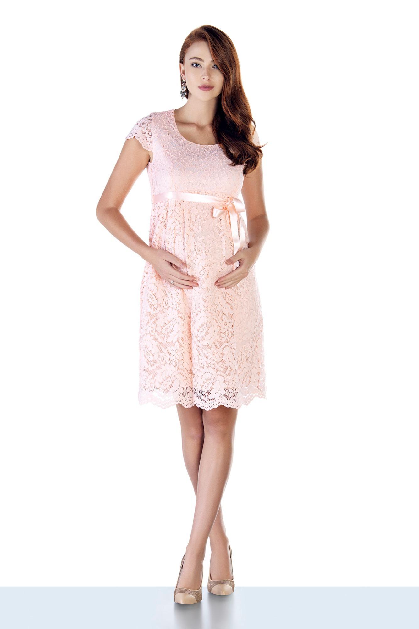 Фото платье для беременных EBRU, вечернее от магазина СкороМама, пудра, размеры.