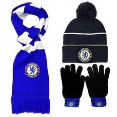 Комплект вязанная шапка с помпоном, шарф и перчатки с логотипом ФК Челси (Chelsea)