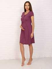 Мамаландия. Сорочка для беременных и кормящих с кнопками короткий рукав, звезды/бордовый вид 2