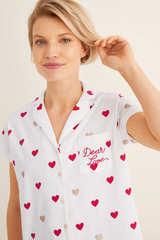 Довга піжама сорочкового типу з принтом «Сердечка»