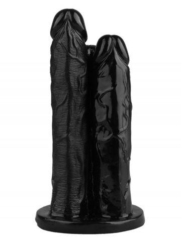 Черный тройной фаллоимитатор - 24 см.