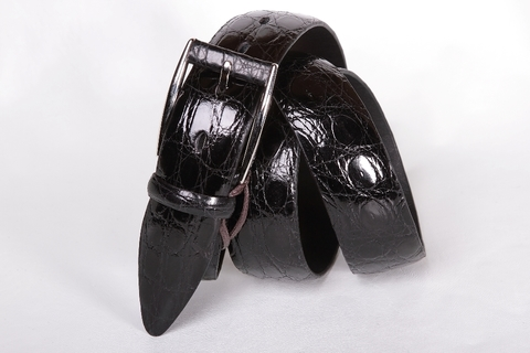 Классический мужской ремень из крокодила черного цвета 35-02
