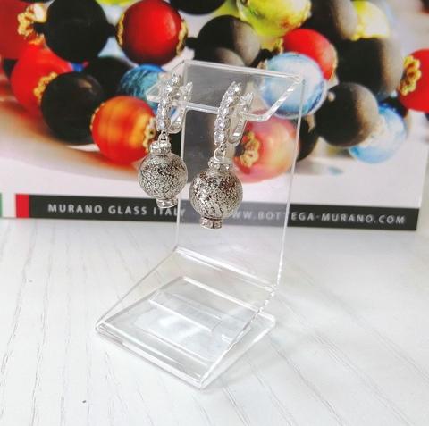 Серьги из муранского стекла со стразами Franchesca Ca'D'oro  Medio Rubino Silver 456OB