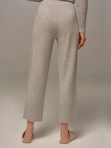 Женские брюки светло-серого цвета из шерсти и кашемира - фото 6