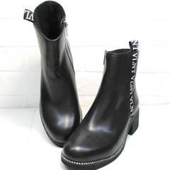 Полусапоги на плоской подошве женские Jina 6845 Leather Black.