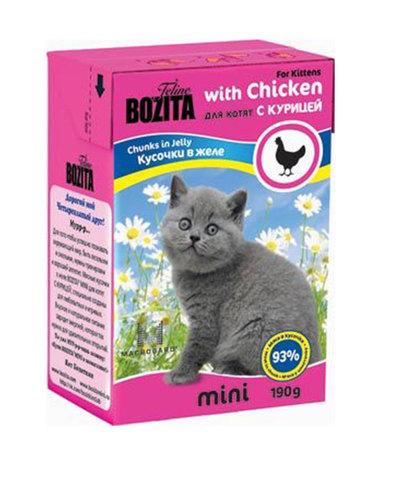 BOZITA консервы для котят кусочки с курицей 190 г