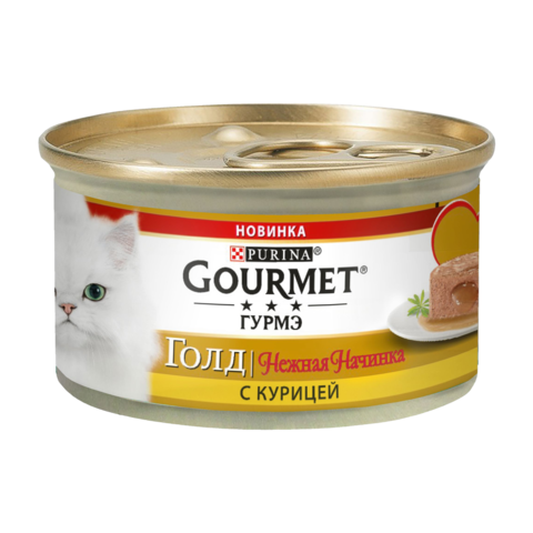 Gourmet Gold Консервы для кошек Нежная начинка с Курицей (Банка)