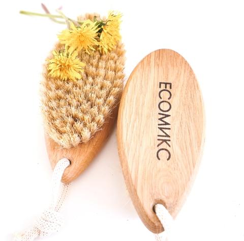 Щетка натуральная массажная маленька без ручки щетина мексиканского кактуса ( лимфодренажная щетка) ECOмикс