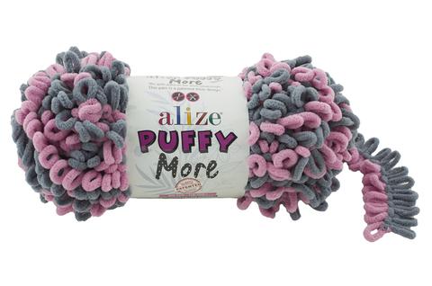 Купить Пряжа Пуффи Море цвет 6281 серый-розовый | Интернет-магазин пряжи «Пряха»