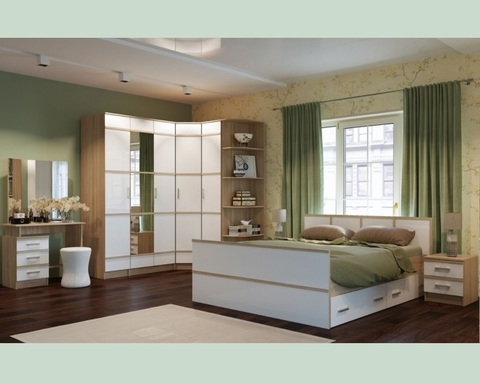 Спальня модульная САКУРА-4 дуб сонома / белый глянец