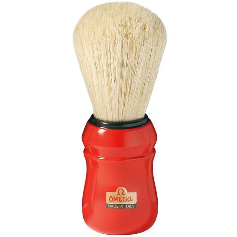 Помазок для бритья Omega,натуральный кабан красная ручка ручка 10049