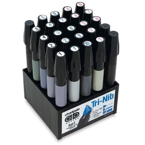 Набор маркеров CHARTPAK GRAYS, серые тона, 25 цветов