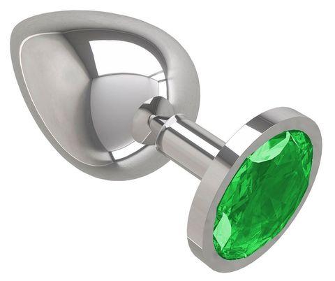 Серебристая большая анальная пробка с зеленым кристаллом - 9,5 см.
