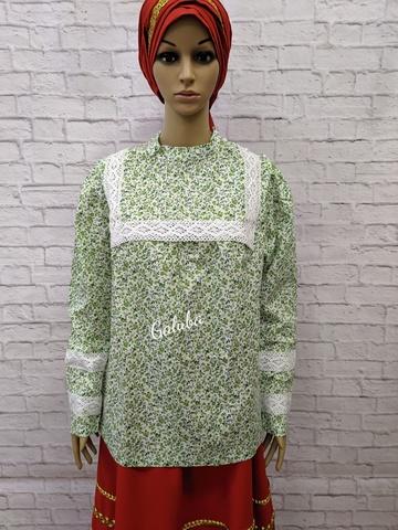 Блузка - разлетайка, зелёная .