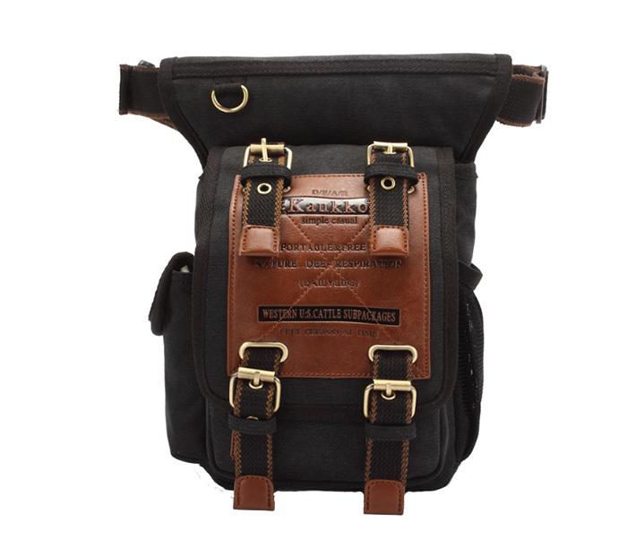 BAG386-1 Вместительная мужская сумка на пояс из ткани черного цвета фото 02