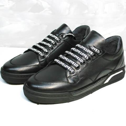 Черные кроссовки женские кожаные. Стильные женские кеды с черной подошвой Rifelini by Rovigo All Black