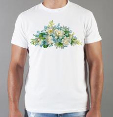 Футболка с принтом Цветы (Пионы) белая 0023