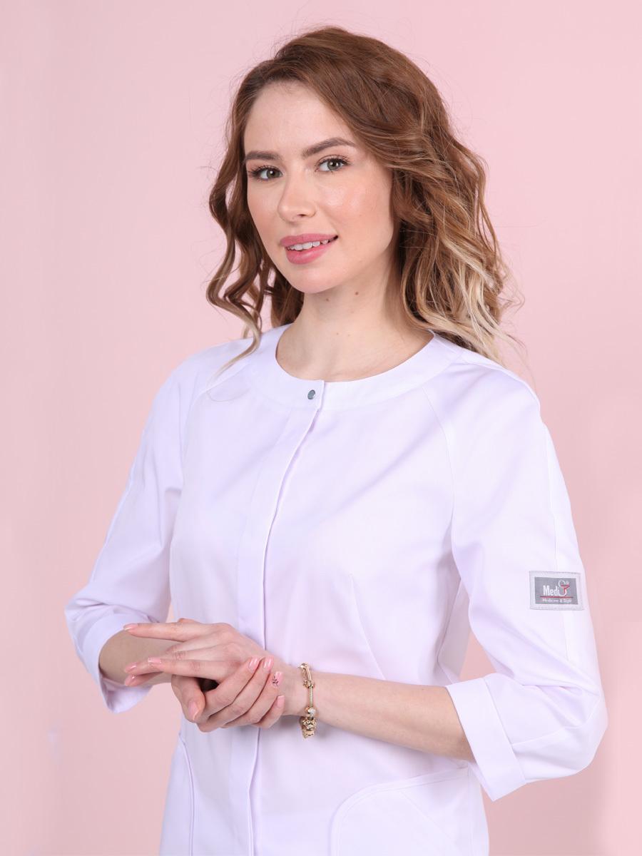 Белая блуза медицинская Бл-357к3/4