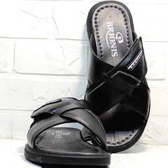 Мужские сандали шлепки летние Brionis 155LB-7286 Leather Black.