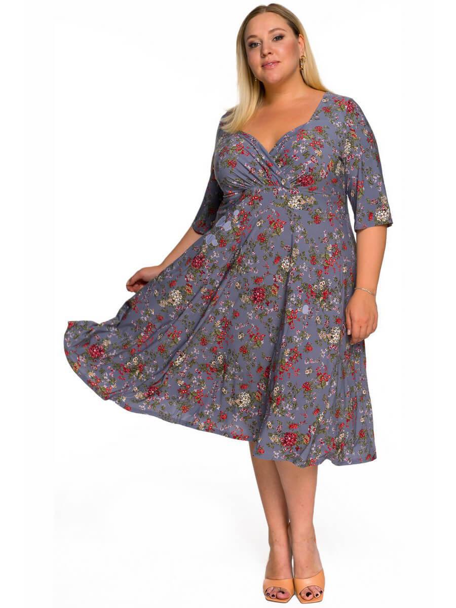 Платье с кокеткой Цветы на графитовом