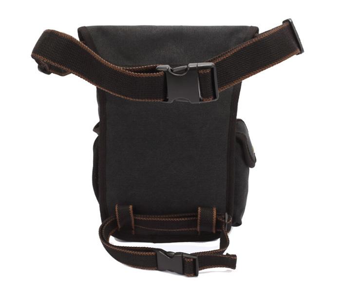 BAG386-1 Вместительная мужская сумка на пояс из ткани черного цвета фото 03