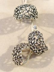 Муравейник (кольцо + серьги из серебра)