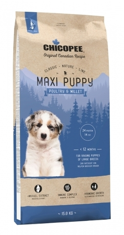 Chicopee CNL Maxi Puppy Poultry & Millet сухой корм для щенков крупных пород с птицей и просом 15 кг
