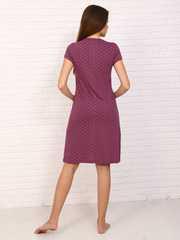 Мамаландия. Сорочка для беременных и кормящих с кнопками короткий рукав, звезды/бордовый вид 4