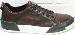 Спортивные кожаные туфли кроссовки осень весна мужские Luciano Bellini C6401 MC Bordo.