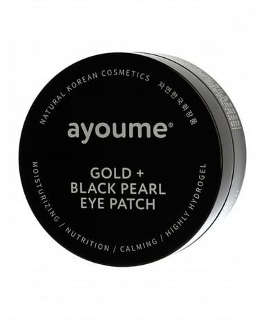 Патчи для глаз с золотом и черным жемчугом, Ayoume Gold + Black Pearl Eye Patch
