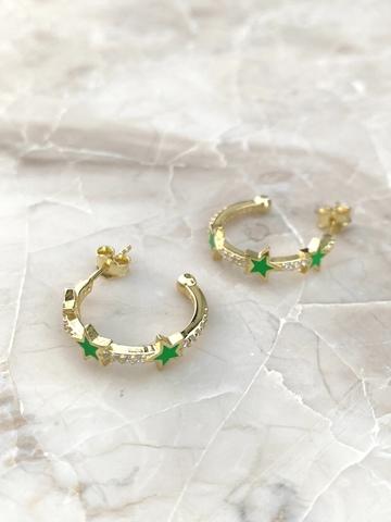 Серьги Стелла Трио из позолоченного серебра с зеленой эмалью