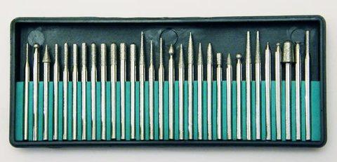 Набор шарошек разнопрофильных (алмазных боров). 30 штук в наборе.