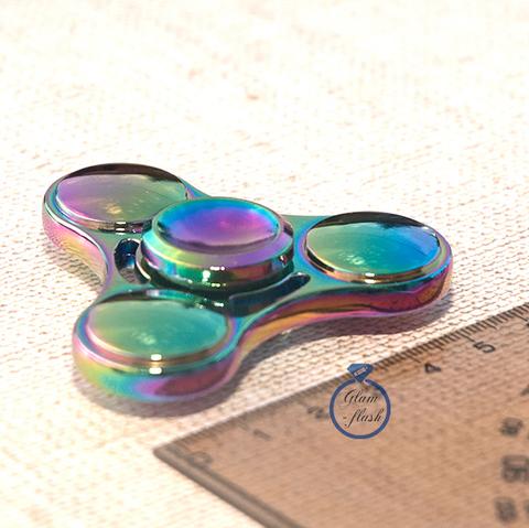 Спиннер металлический классической формы с выпуклыми кругами на лепестках цвет хамелеон 17034M