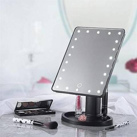 Косметическое зеркало для макияжа с подсветкой Large Led Mirror 16 светодиодов (чёрное)