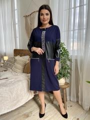 Шайн. Жіноче комбіноване плаття з еко-шкірою. Синій