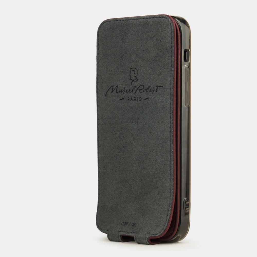 Чехол для iPhone 12 Mini из натуральной кожи теленка, бордового цвета