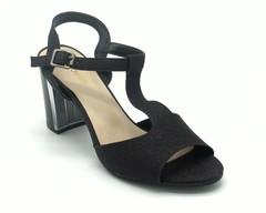 Черные босоножки на высоком устойчивом каблуке