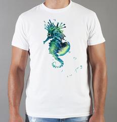 Футболка с принтом Морской конек (Море, Океан, волны) белая 004