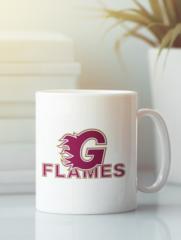 Кружка с рисунком НХЛ Калгари Флэймз (NHL Calgary Flames) белая 003