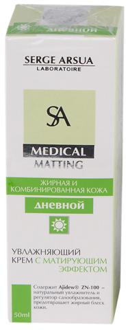 Крем дневной увлажняющий с матирующим эффектом 50 мл  MEDICAL MATTING НИИ Натуротерапии ТМ Serge Arsua