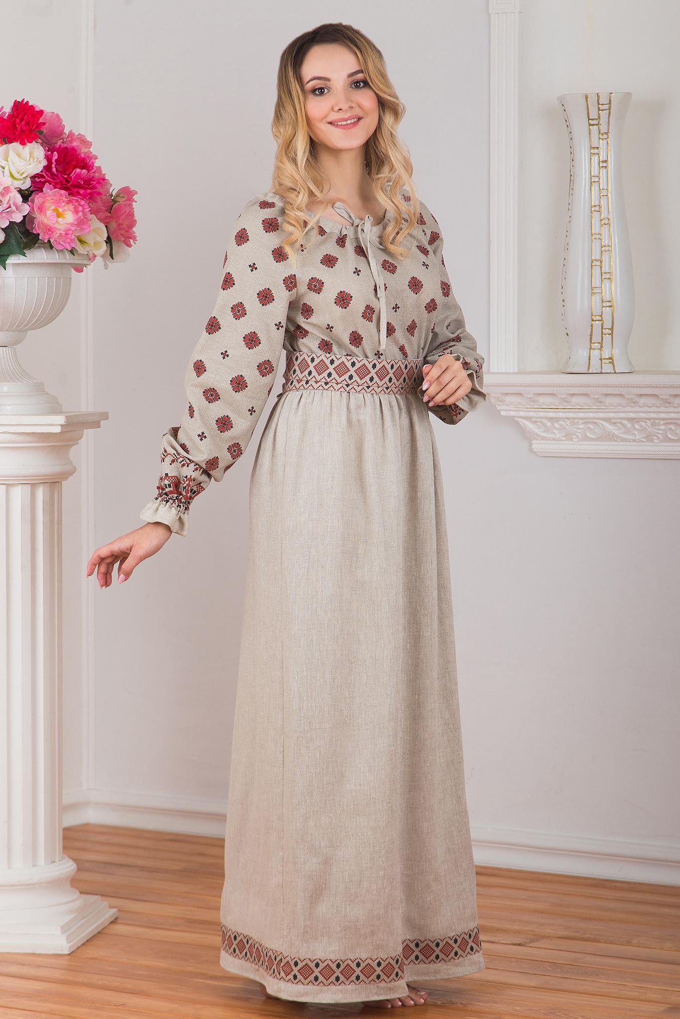 Платье традиционное Льняное поле вид сбоку