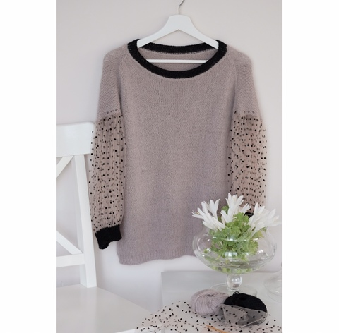 Описание Dotted Sleeve Jumper (автор Лена Родина)