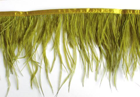 Тесьма  из перьев страуса h 10-15 см., оливковый