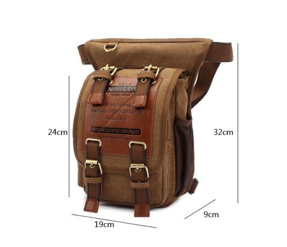 BAG386-2 Качественная мужская поясная сумка из ткани цвета хаки фото 02