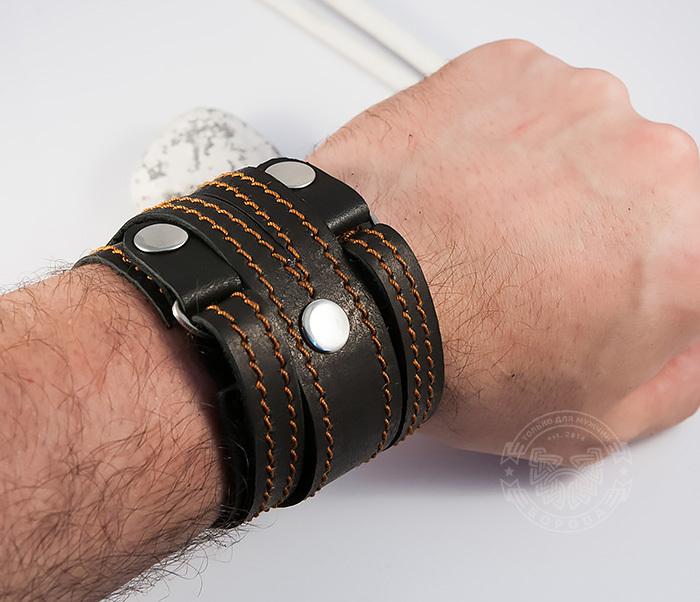 BL425-3 Широкий мужской браслет напульсник из кожи, ручная работа, «Boroda Design» фото 07