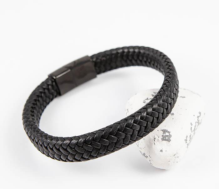 BM530-1 Плетеный мужской браслет из черной кожи