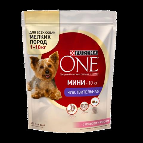 Purina One Мини Чувствительная Сухой корм для собак мелких пород Лосось и Рис