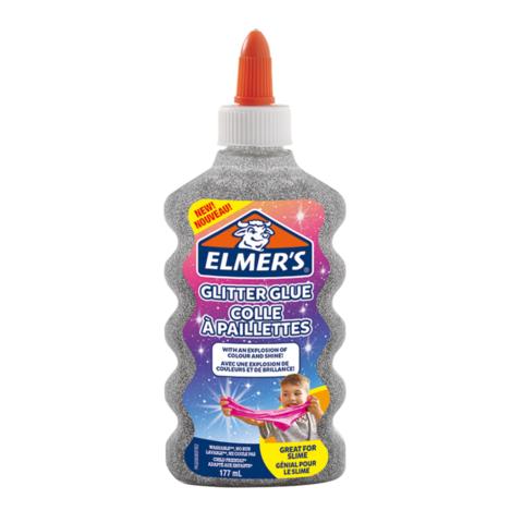 Клей для слайма Elmer's Glitter Glue блестящий серебристый 177 мл