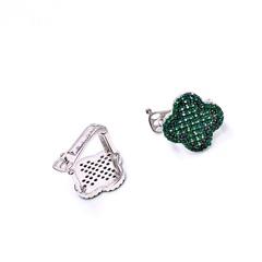 85125  - Серьги Trendy из серебра с изумрудными цирконами