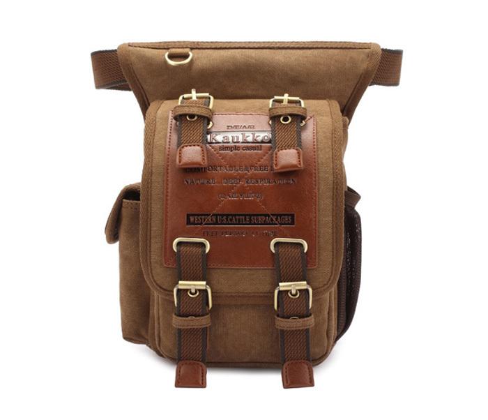 BAG386-2 Качественная мужская поясная сумка из ткани цвета хаки фото 03